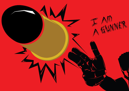 ruffian: The big golden bullet is shooted from black silhouette gunner on red background