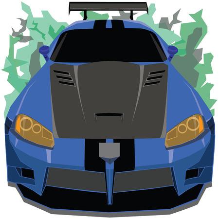 celerity: La vista frontal de azul y negro coche de carreras de la correa en el fondo de la llama patr�n de camuflaje
