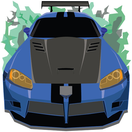blue flame: The front view of blue and black belt race car on camouflage pattern flame background Illustration