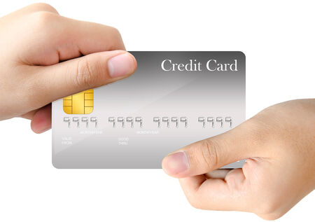 grasp: Two hand grasp on the opposite corner of gray blank credit card template on white background
