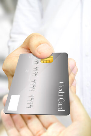 The one business man s paying and another one receive the gray credit card as the real exchange situation.
