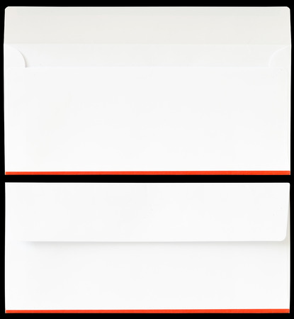 unveil: The 2 white 14 A4 size envelopes in open and close condition on black background Stock Photo