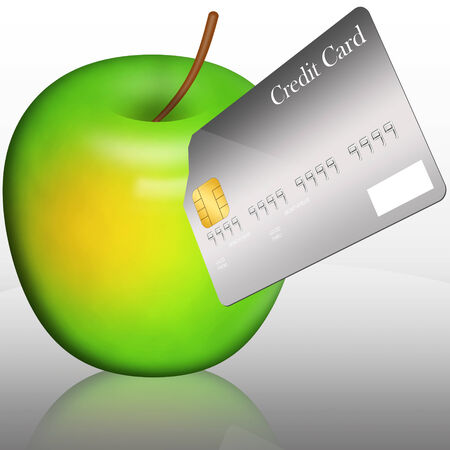 stab: The gray blank template credit card stab down into the green apple with reflection on the floor Stock Photo