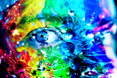 Colorful Abstract Art Background with Face and Raindrops