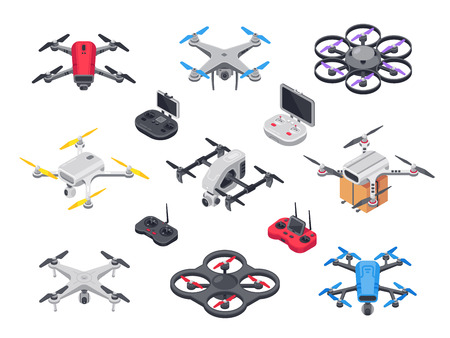 Remote control flying copter with camera. Radio controllers for
