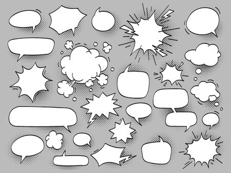 cartoon oval discuss speech bubbles and bang bam clouds with hal