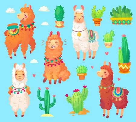 Mexican cartoon cute alpaca lama with white wool. Peru desert ll