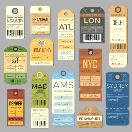 Carosello di bagagli bagagli vintage tag simboli. Vecchio biglietto del treno e simbolo del bollo di viaggio aereo. Insieme di vettore del biglietto di viaggio del tour di Londra