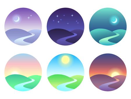 Moderne schöne Landschaft mit Steigungen. Sonnenaufgang, Morgendämmerung, Morgen, Tag, Mittag, Sonnenuntergang, Dämmerung und Nachtikone. Sonnenzeitvektorsymbole eingestellt
