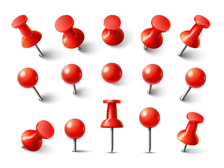 Red pushpin top view. Thumbtack for note attach collection. Realistic 3d push pins pinned in different angles vector set
