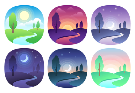 Modern beautiful landscape with gradients. Sunrise, dawn, morning, day, noon, sunset, dusk and night icon. Sun time vector icons set