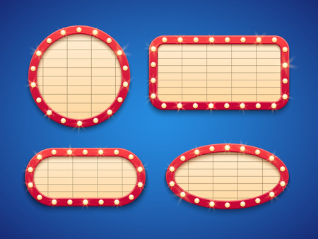 Retro cinema or theater lights marquee banner. Classic vintage Hollywood movie billboards with lamps. Isolated glowing empty frame signs vector set