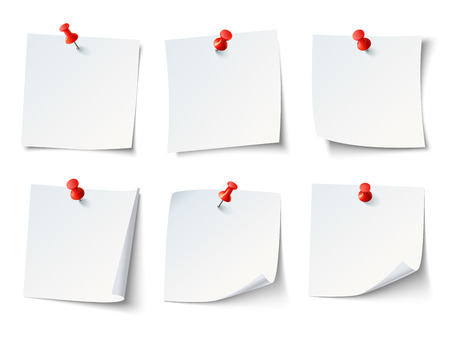 White blank draw papers, notes on red thumbtack. Top view note sticker with pins vector set