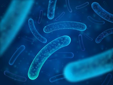 Microorganismos bacterianos y bacterianos terapéuticos. Salmonella microscópica, lactobacillus o organismo acidophilus. Fondo abstracto vector biológico Ilustración de vector