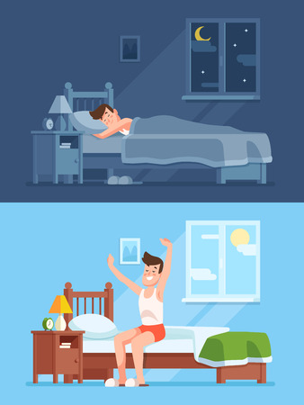 Man sleeping under warm duvet at night, waking up morning and getting out of comfortable soft bed. Peacefully sleep in comfy bedding cartoon vector concept