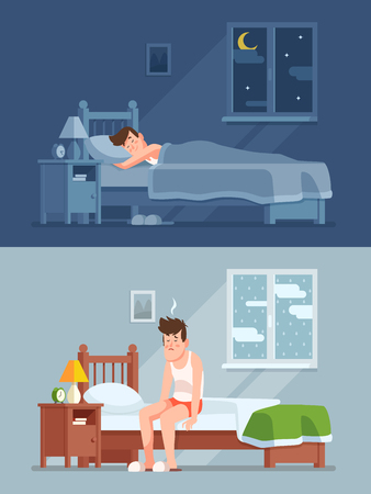 Man sleeping under duvet at night, waking up morning with bed hair and feeling sleepy and tired. Sleep disorder, insomnia cartoon vector concept