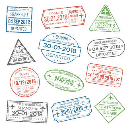 Visa passport blur, red, green, grey stamp for travel. Immigration, vacation. International airport grunge stamps isolated vector set