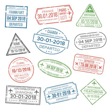 Visa passeport flou, timbre rouge, vert, gris pour les voyages. Immigration, vacances. Ensemble de vecteur isolé de timbres grunge aéroport international Vecteurs