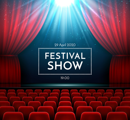 Classic opera audience drama music concert show stage interior with velvet red curtain, bright spotlight and theater chairs. Theater poster of festival night shows. Vector realism backdrop