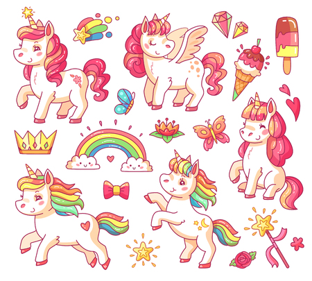 Cute fairytale pink flying rainbow pegasus sticker baby unicorn with gold stars and sweet ice creams. Magic fairy little pony fantasy unicorns cartoon vector illustration set