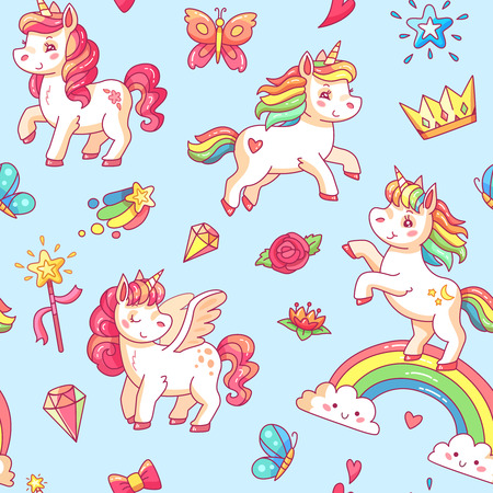 Cartoon babe pony sketch cute pastel background. Miracle sweet dreams with magic colorful pink fancy fairytale unicorn, clouds and rainbow vector seamless pattern poster illustration Illustration