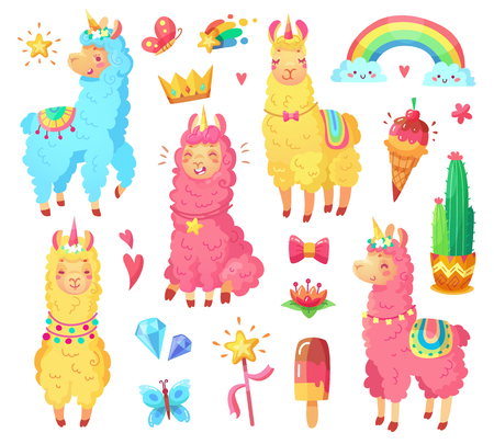 Funny fairytale cute mexican smiling colorful yellow, pink, blue alpaca with fluffy wool and cute rainbow llama unicorn. Magic rainbow wildlife character pets cartoon illustration set Illustration