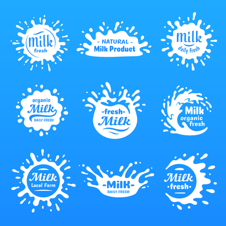 Yogurt splash silhouette, drink milks macula or milky drink blot. Natural organic yoghurt cream or breakfast calcium lactose milk blots spot silhouette vector cartoon blue shape set