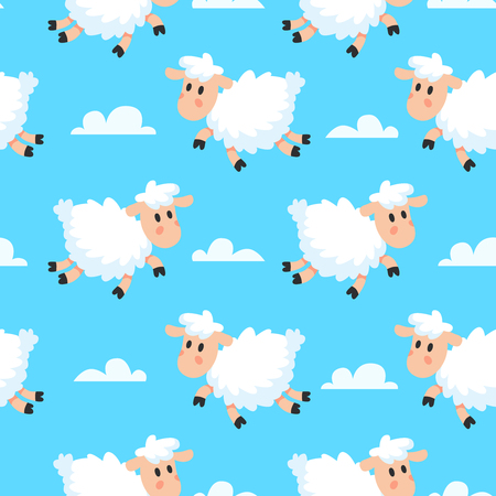 Happy cute sleeping baby animal sheeps fabric background. Dreamy woolly fun clouds baa lamb or sheep cartoon seamless fabric pattern vector illustration
