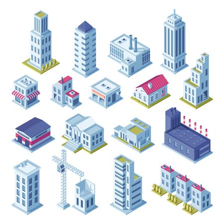 Proiezione isometrica 3d degli edifici della città per la mappa. Case grigie, area manifatturiera, deposito, garage, strade della costruzione del mercato della fabbrica del negozio e illustrazione di vettore isolata architettura della costruzione del grattacielo