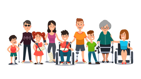 Disabled characters. Happy people with special needs. Student kid boy in wheelchair, man with disability and elderly on crutches cartoon flat vector set