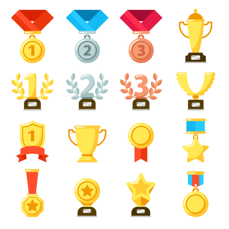 Achievement award, achiever trophy, achievements ribbon medal star icon. Gold, silver, bronze medals bowl winner cup of success vector flat isolated icons set