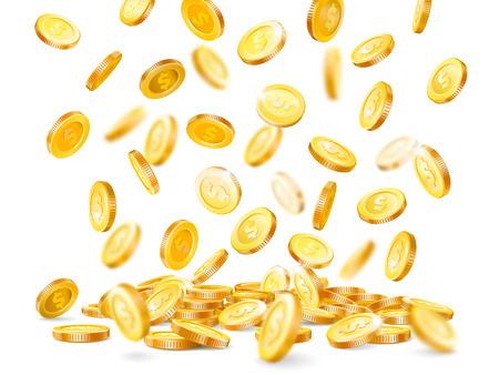 Money explosion. Million dollars, cash coin falling down, marketing gold precious casino luck jackpot dollar coins rain isolated vector concept realistic 3D illustration