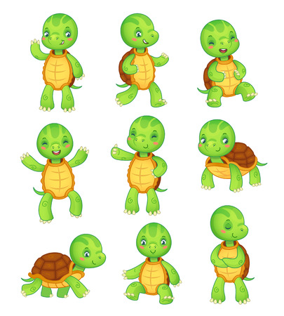 Cartoon turtle. Cute fun kids turtles, wild animals character set. Tortoise colorful isolated characters vector animal illustration collection
