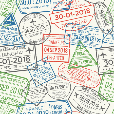 Travel visa airport stamps seamless pattern. Traveling document, vise to UK China France Canada or grunge passport rubber stamp colorful red green gray blue patterns vector background collection