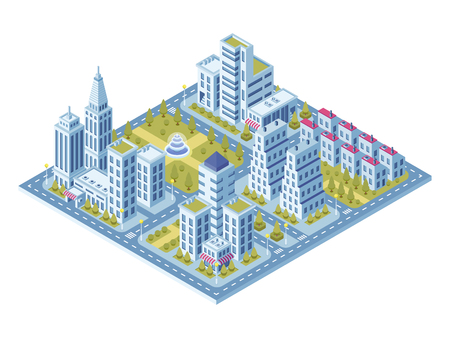 Modern city buildings, police station, road with cars and supermarket, museum building. Town lofts gray home apartments vector 3d isometric flat exterior street set