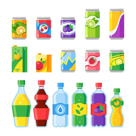 Bebe bebidas. Bebida de energía fría o gaseosa, agua con gas y jugo de fruta enlatado en botellas de vidrio. Dibujos animados coloridos púrpura naranja verde rojo azul amarillo bebidas aisladas vector plano conjunto de iconos
