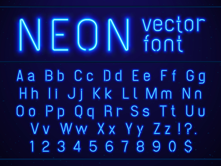 Bright glowing blue neon alphabet letters and numbers font. Nightlife entertainments city light, modern bars, casino illuminated sans serif lettering numbers included vector signs on dark background