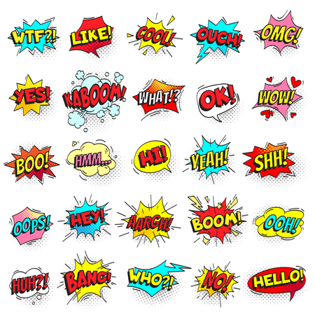 Bang, ouch shouts and yeah shouting text bubble with halftone pattern shadow. Pop art comic sign retro style cool hello ok wow boo hi text shout speech bubbles colorful vector isolated symbol set