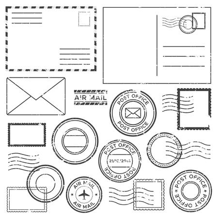 Alter Brief mit Briefmarken. Antike Luftpostbuchstaben mit Flugzeugrandmarkierungssymbolschablone, Luftpoststempeletikett und Post-Tinten-Gütesiegel-Grunge-zerkratztes Symbol isolierten Vektorsatzsammlung