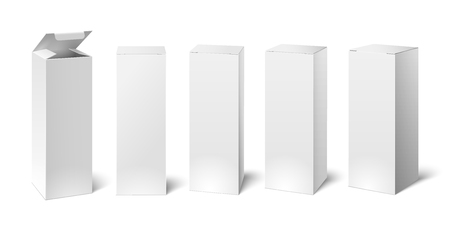 Mockup di scatola di cartone bianca alta. Set di imballaggi cosmetici o medicali rettangolari di cartone alto verticale realistico, scatole di carta. Accumulazione isolata illustrazione 3D di vettore