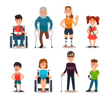 Disability people. Cartoon sick and disabled characters. Person in wheelchair, injured woman, elderly man and happy girl after accident diverse and sickness child colorful vector isolated set