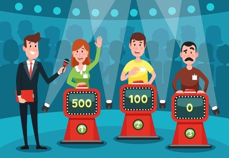 Los jóvenes adivinan las preguntas del cuestionario. Estudio de demostración de juegos intelectual con botones de juego en soportes para ilustración de vector colorido de dibujos animados de personajes de jugadores inteligentes emocionados masculinos y femeninos