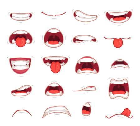 Cartoon Münder. Gesichtsausdruck überraschte Mund mit Zähnen Schock schreien lächelnden Humor Grinsen und Karikatur beißen Lippe bunte Satz isolierte Symbole Vektor-Illustration Sammlung