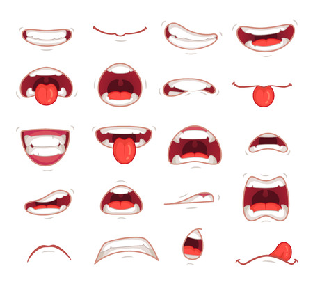 Cartoon mouths. Facial expression surprised mouth with teeth shock shouting smiling humor grin and caricature biting lip colorful set isolated symbols vector illustration collection Stock Photo