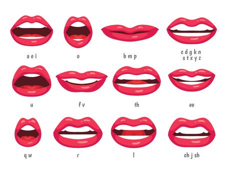 Animazione della bocca. Fonemi animati di sincronizzazione labiale per il segno del personaggio della donna che parla dei cartoni animati. Bocche con labbra rosse che parlano animazioni nel testo in lingua inglese per l'insieme di vettore di simbolo isolato forma di istruzione Vettoriali