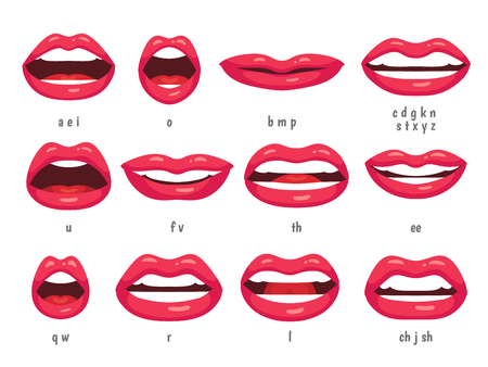 Mouth animation. Lip sync animated phonemes for cartoon talking woman character sign. Mouths with red lips speaking animations in english language text for education shape isolated symbol vector set 스톡 콘텐츠 - 104224284