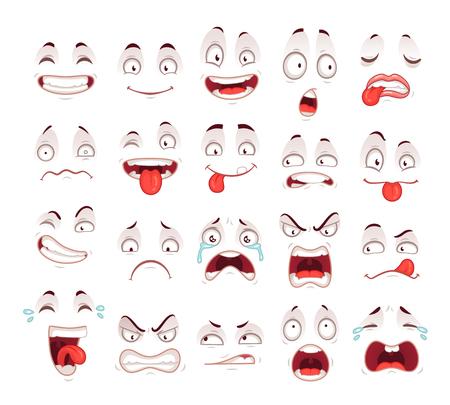 Visages de dessin animé. Heureux sourire excité riant malheureux triste bouche cri et symbole de caractère d'expressions de visage effrayé malade fou. Caricatures expressives comique doodle langue personnes vector icon set