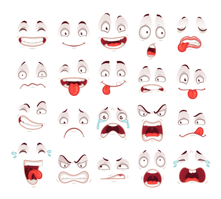 Cartoon faces. Happy excited smile laughing unhappy sad cry mouth and crazy sick scared face expressions character symbol. Expressive caricatures comic doodle tongue people vector isolated icon set