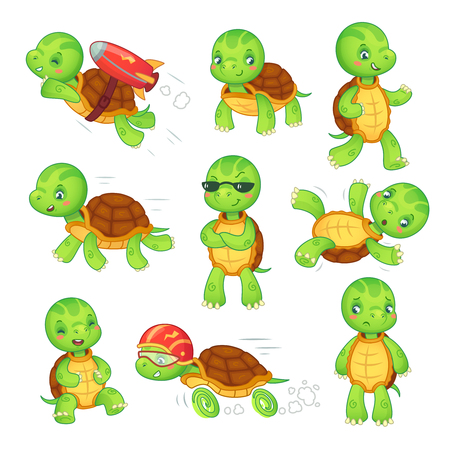 Turtle child. Running fast tortoise cartoon characters icon. Green funny walking run fall standing and rocket fly kids turtles cute wildlife animals in shell isolated vector illustration symbol set
