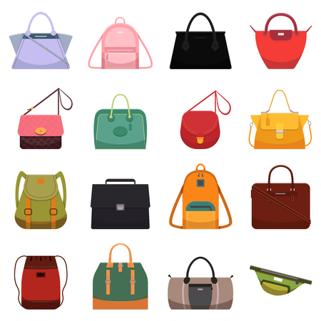Woman leather casual bags, handbag satchel reticule purse backpack symbol and fashion model. cartoon colorful womens luggage bag and shopper modern accessory isolated icon vector flat illustration set